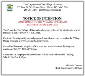Ad for Bylaw amendment - Business Licence Bylaw - June 18-18