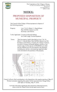 Notice for Disposition of Municipal Property - April 12-16