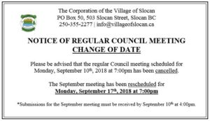Regular Meeting Change of Date SNIP