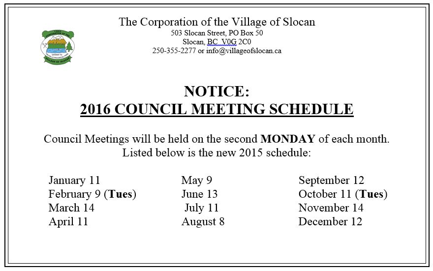 Click here to view the 2016 COUNCIL MEETING SCHEDULE
