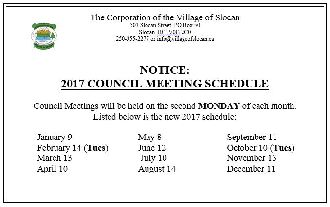 Click here to view the 2017 COUNCIL MEETING SCHEDULE