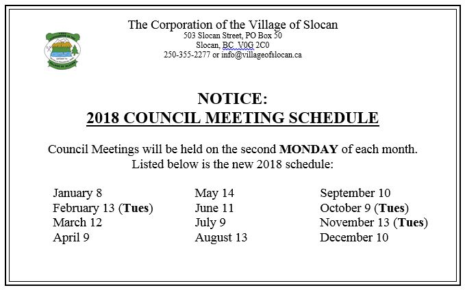 2018 Council Meeting Schedule Snip - Slocan City